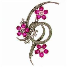 """Signature Victorian Collection....known for its international taste and appeal!    """"Nathaira""""...only $280 or P12,320!! Victorian Inspired !!! 1.43ct Diamond Tourmaline Brooch! Imported, world-class quality, not pre-owned, not pawned, not stolen. We deliver worldwide <3"""