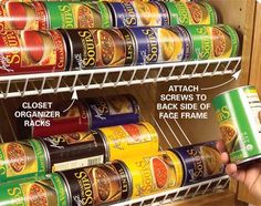 Use wire closet racks in kitchen cabinets, clever storage for cans