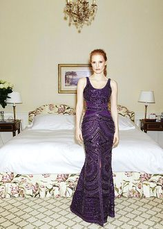 Givenchy Haute Couture | ... Jessica Chastain in Givenchy Haute Couture Purple Dress | 2013 Cannes