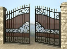 Roman Yurin's photos Grill Gate Design, House Main Gates Design, Steel Gate Design, Front Gate Design, Door Gate Design, House Front Design, Wrought Iron Driveway Gates, Iron Garden Gates, Iron Gates