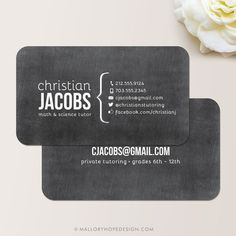 Chalkboard Tutor or Teacher Business Card / Calling Card / Mommy Card ©MalloryHopeDesign.Etsy.com