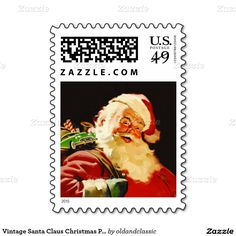 Christmas Postage Stamps with a vintage Santa Claus postcard image. Matching cards and other products available in the Christmas and New Year / Vintage Postcards Category of the oldandclassic store at zazzle.com