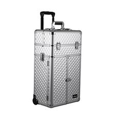Silver Diamond Professional Rolling Aluminum Cosmetic Makeup French Door Opening Case with Split Drawers, Extendable Trays and Brush Holder - I3565 ** Learn more by visiting the image link.