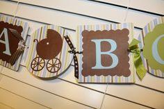 Blue & brown ITS A BOY baby shower decor- banner.