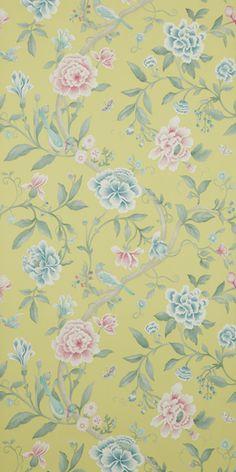 Porcelain garden floral yellow wallpaper
