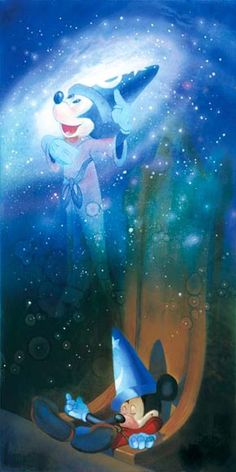 Disney Fine Art - The Flight To Fantasy. Sorcerer Mickey. Biggs Ltd. Gallery. Heirloom quality bridal, art, baby gifts and home decor. 1-800-362-0677. $495.