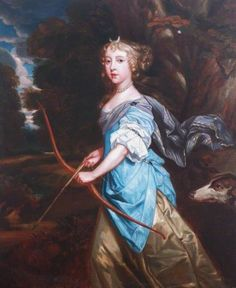 1670s Copy of  Peter Lely (English artist, 1618-1680) Mary II (1662–1694), when Princess Mary of York, as Diana.  She has a crescent moon in her hair, a bow & arrow & only the head of her dog companion is visible.