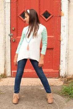 Pre Order ST Girl's Ivory and Mint Striped Long Sleeve Loose Top (October)