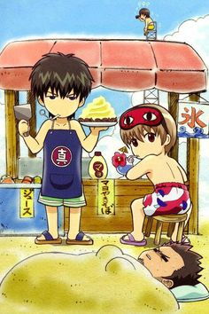 gintama beach time by on DeviantArt Otaku Issues, Comedy Anime, Okikagu, Kawaii Anime, Anime Manga, Cute Art, Anime Characters, Chibi, Animation