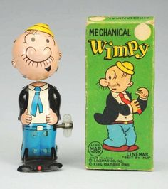 """Linemar Wimpy mechanical toy...""""For a hamburger today, I will gladly pay you Tuesday."""""""