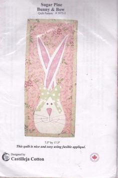 Easter Bunny Bow Quilt Pattern Kit with Fabric Sugar Pine Castilleja Cotton New #SugarPine