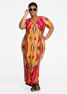 Cold Shoulder Tribal Print Maxi Dress