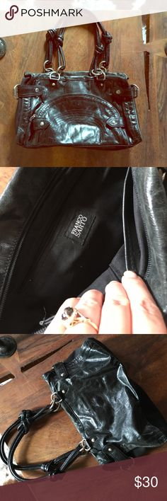 Black vegan leather Franco Sarto purse with zipper Super cute Franco Sarto purse.  Silver hardware.  In great condition Franco Sarto Bags Shoulder Bags