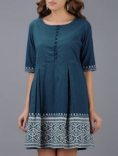 Buy Blue Ivory Block printed Pleated Cotton Dress Online at Jaypore.com Short Kurti Designs, Kurta Designs Women, Blouse Designs, Frock Fashion, Fashion Outfits, Cotton Dresses Online, Dress Online, Cotton Dress Indian, Short Frocks