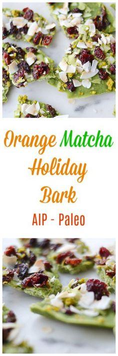 Orange Matcha Holiday Bark (AIP/Paleo)   Lichen Paleo, Loving AIP Vegetarian Paleo, Paleo Diet, Paleo Breakfast, Paleo Dessert, Paleo Sweets, Convenience Food, Paleo Recipes, Bakery Recipes, Fudge Recipes