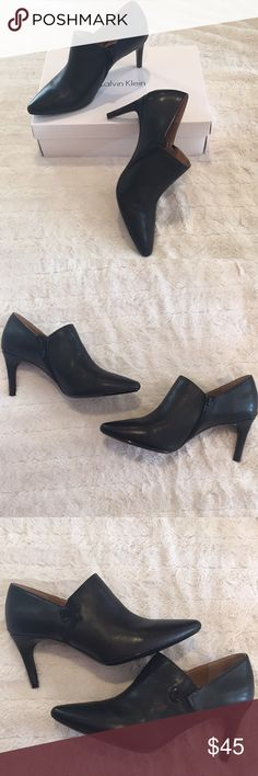 Calvin Klein Heeled Booties🌟 Calvin Klein heeled booties in excellent condition only worn 1 time, only flaw is at front of shoe as pictured, thanks for looking 😊 Calvin Klein Shoes Ankle Boots & Booties