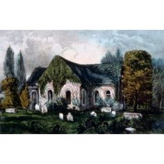 USA Petersburg Virginia Old Blandford Church Currier and Ives color lithograph 1857-1907 Washington DC Library of Congress Canvas Art - Currier and Ives (24 x 36)