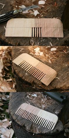 """Make a """"Bushcraft"""" wooden comb with just a pocket knife . Make a """"Bushcraft"""" wooden comb with just a pocket knife Bushcraft Camping, Camping Survival, Survival Prepping, Survival Skills, Bushcraft Kit, Bushcraft Skills, Survival Food, Wood Projects, Woodworking Projects"""