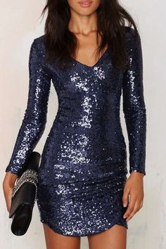 Long Sleeve Sequined Bodycon Dress