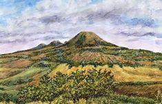 Minimax.cz - umělecký server pro všechny autory - LÉTO VE STŘEDOHOŘÍ Watercolor Landscape, Rocks, Trees, Paintings, Mountains, Fine Art, Drawings, Nature, Plants