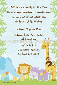 Safari jungle animal zoo party invitation for birthday or baby safari jungle animal zoo party invitation for birthday or baby shower invite or thank you card with photo printable pdf or jpg party invitations filmwisefo