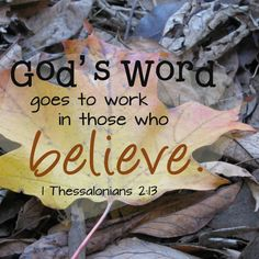 "Love The Truth And It Will Work In You. 1st Thessalonians 2:13, ""For this cause also thank we God without ceasing, because, when ye received the word of God which ye heard of us, ye received it not as the word of men, but as it is in truth, the word of God, which effectually worketh also in you that believe."" - http://access-jesus.com/love-the-truth.html#1Thessalonians2_13"