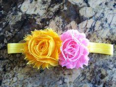 Pink & yellow shabby chiffon flowers headband. (3-6mos.) $6