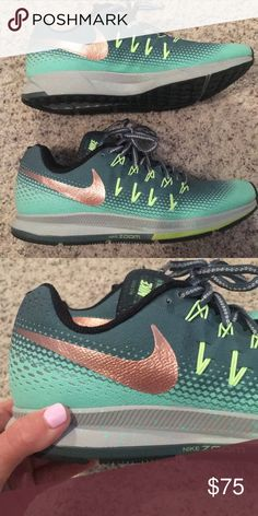 Nike tennis shoes The cutest mint and dark green Nikes ever. Rose gold swoosh. Brand new and you'd never know they were worn once or twice. Nike Shoes Sneakers