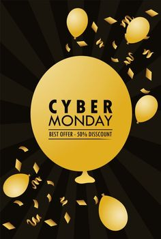 Cyber monday with golden balloons helium in black background. Download it at freepik.com! #Freepik #vector #banner #sale #promotion #discount Black Banner, Banner Drawing, Facebook Cover Template, Memphis Design, 3d Typography, Frame Background, Sale Banner, Sale Promotion, Banner Template