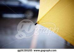"""Rainy walk with yellow umbrella"" - Rain Stock Photo from Go Graph"