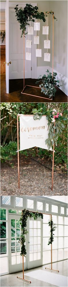 greenery and copper wedding decoration ideas