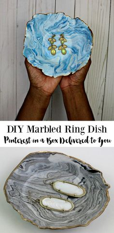 Learn how to make a DIY Marbled Ring Dish with this step by step tutorial. Also includes a video tutorial and a link to download printable instructions for this DIY marbled ring dish