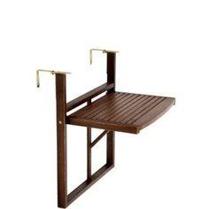 BUTLERS LODGE folding table for balcony railing (brown) - Balkon Ideen - Balcony Furniture Design Small Balcony Design, Tiny Balcony, Small Balcony Decor, Balcony Bar, Small Balcony Furniture, Small Balconies, Balcony Ideas, Balcony Garden, Apartment Balcony Decorating