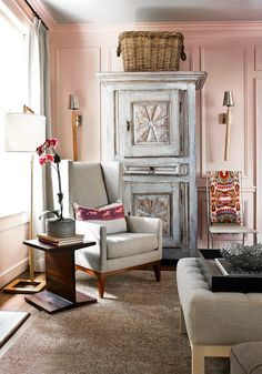 ♡ Home Pink Home ♡ pink walls love the haint blue and taupe accents