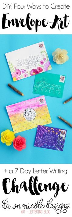 Four Ways to Create Envelope Art + Join the 7 Day Lettering Writing Challenge in celebration of the Letters of Peace campaign. Envelope Carta, Diy Envelope, Envelope Design, Envelope Writing, Mail Art Envelopes, Addressing Envelopes, Making Envelopes, Planner Stickers, Pocket Letter