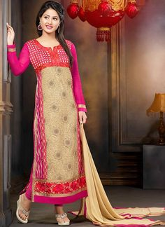 Hina Khan Cream Georgette Straight Palazzo Churidar Suits