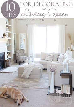 10 Tips for decorating a living room or bedroom...or any space at all! From Alicia at Thrifty and Chic.