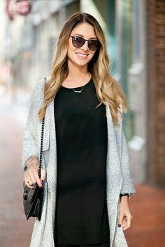 Grey Sweater & Black Boots  http://mkristineblog.com/blog/longgreycartigan