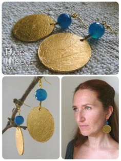 BlueMoon | paper earrings | paper, blue agate and faux gold leaf