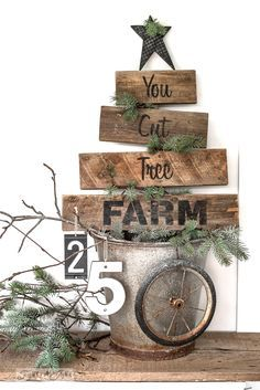 You Cut Tree Farm with Funky Junk's Old Sign Stencils. Paint professional looking Christmas tree signs onto reclaimed wood in minutes with this festive stencil! Christmas tree graphic is included. Pallet Projects Christmas, Pallet Christmas Tree, Primitive Christmas, Christmas Signs, Rustic Christmas, Christmas Crafts, Christmas Decorations, Primitive Crafts, Christmas Christmas