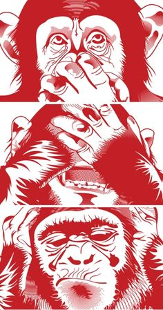 Hear no evil,see no evil,speak no evil.im excited Three Wise Monkeys, Monkey Tattoos, Monkey Art, Arte Pop, Dope Art, Vector Art, Digital Illustration, Monkey Illustration, Gorilla Tattoo