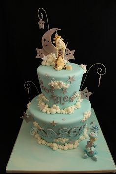 Moon, stars, and clouds Baptism cake by Andrea's SweetCakes, via Flickr. This is ADORABLE!! The figures are perfection and those clouds are just too much. So much talent!!