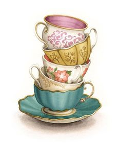 "Tea Cup Art Painting Print - Kitchen Decor - Kitchen Art - Gift for Mom - (Archival Print) - ""Tea for Five"" by Alicia's Infinity - You will receive a print of my vintage tea cups watercolour painting! Perfect for a Mothers Day gif - Watercolour Painting, Painting Prints, Art Paintings, Watercolour Illustration, Pattern Painting, Tea Illustration, Art Prints, Tracing Pictures, Tea Cup Art"