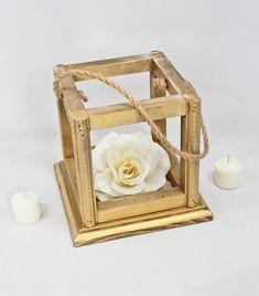 Gold Wedding Lantern Centerpiece. Rustic Gold Wooden Lantern, Jute. Candle Holder. Wedding Table Centerpiece Ideas. Antique Table Lantern.
