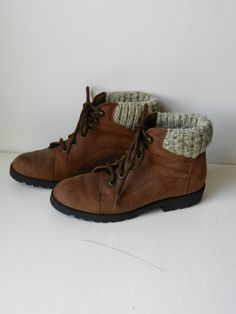Leather ankle boots HIKING BOOTS Vintage brown by dearhuckleberry, $32.00