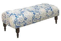 """Colette Tufted Bench, Blue/Parchment on OKL ($349 v. $695 retail) Made of: frame, pine; upholstery, linen; fill, polyurethane/polyester foam 49.5""""W x 20""""D x 18""""H Color: upholstery, blue/parchment; legs, mahogany finish Care: Spot-clean only. """"This elegantly tufted bench is perfect at the foot of a bed or in your living room, and features deep, diamond tufting and espresso-colored spindle legs. This is a One Kings Lane exclusive style."""""""
