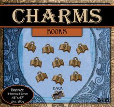 CHARMS - Brass Scriptures or Book - Pack of 10 Charms. Jewelry Findings for Necklaces, Bracelets, Pendants, Craft Projects by templesquares on Etsy