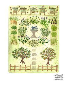 Bee Garden Print herb garden art orchard illustration door GollyBard