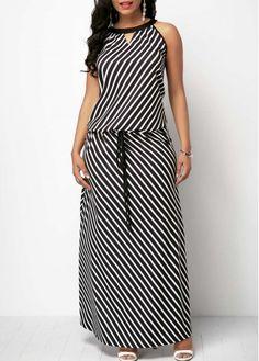 Sleeveless Black Drawstring Wa ft  hygienev ist Maxi Dress on sale only US$33.17 now, buy cheap Sleeveless Black Drawstring Waist Maxi Dress at Rosewe.com