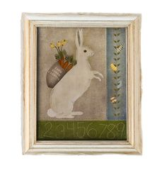 Digital bunny print Primitive art. Farm by SansSouciPrintables